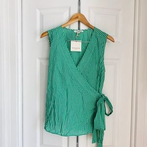 Gingham print wrap blouse